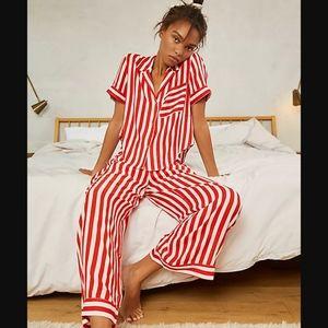 Free People Shiny Nights PJ Set Red & White NWT